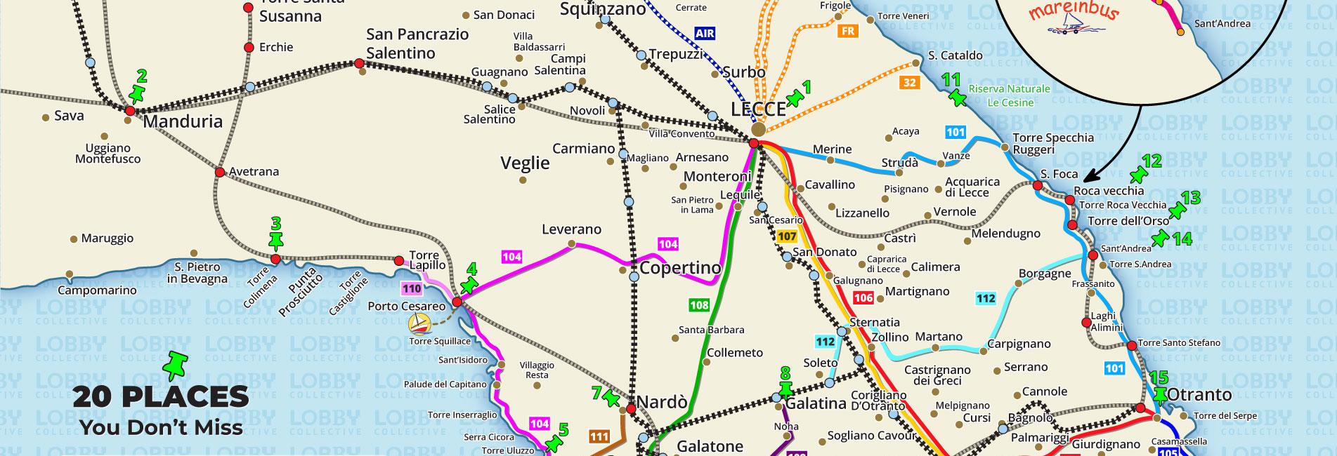 Lobby Collective Hostel - Mappa autobus e treni del Salento